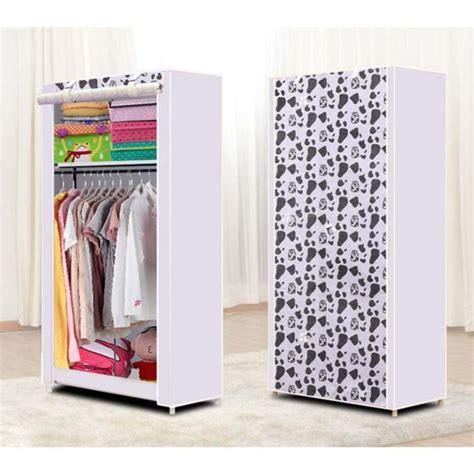 starhome lemari baju single dengan 1 gantungan baju lemari pakaian portable cloth rack motif