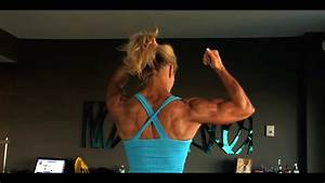 Muscular Fitness Woman Flexing Her Powerful Steel Ripped Biceps
