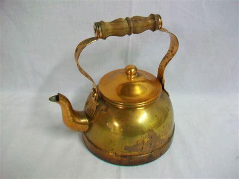 details  vintage tagus copper   portugal teapot  wood handle   tea pots