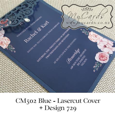 navy blue blush pink flowers wedding invitation design 729