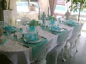Breakfast table decoration ideas, turquoise and white
