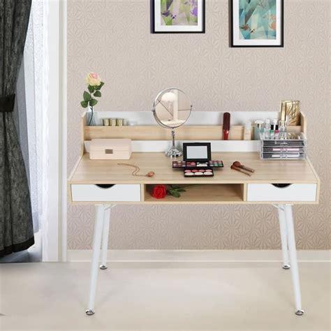 bureau informatique 120 cm bureau informatique coiffeuse table de maquillage avec 2 tiroirs 120 x 60 x 94 cm l x l x h