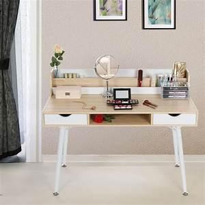 Meuble De Maquillage : bureau informatique coiffeuse table de maquillage avec 2 tiroirs 120 x 60 x 94 cm l x l x h ~ Teatrodelosmanantiales.com Idées de Décoration