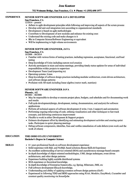 senior software engineer java resume sles velvet