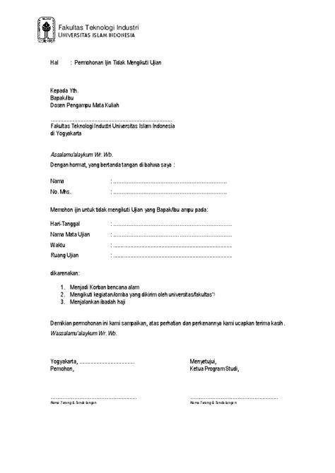 contoh surat permohonan ujian susulan kuliah berbagi