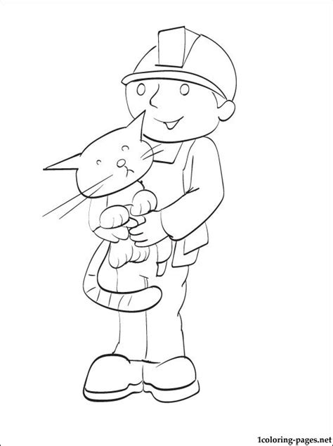 coloring page bob  builder   cat pilchard coloring pages
