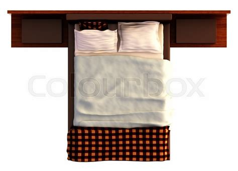 king bed furniture set top view of a bed with a blanket and a pillow isolated on