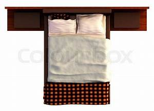 Top view of a bed with a blanket and a pillow isolated on