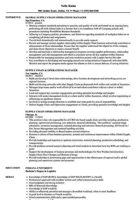 Supply Chain Manager Resume by Supply Chain Operations Manager Resume Sles Velvet