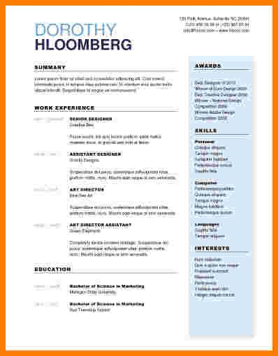 Pages Resume Templates Free by 9 One Page Resume Template Free Professional