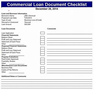 commercial loan document checklist With sba loan document checklist