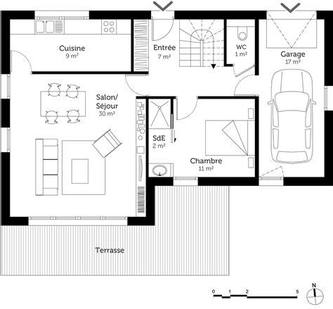 surface minimum chambre plan maison 4 chambres 100 m