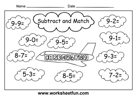 printable worksheet for grade 1 free coloring pages of subtraction worksheet