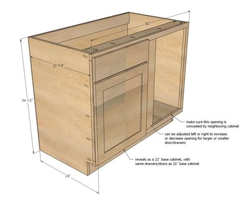 kitchen base cabinet plans free white build a 42 quot base blind corner cabinet 7722