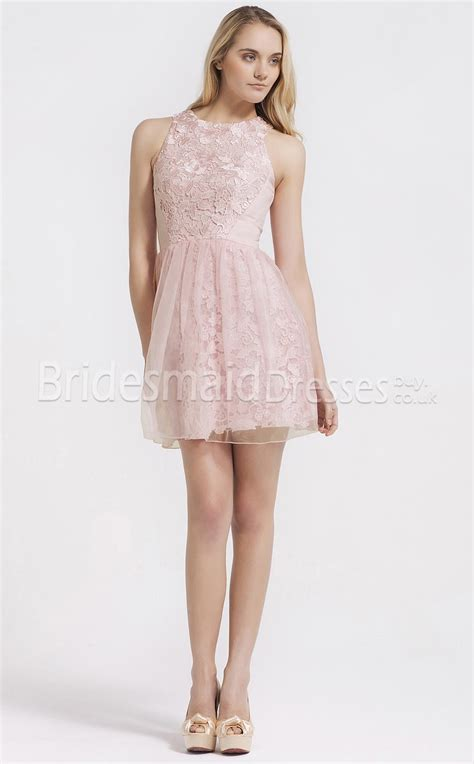 pink lace bridesmaid dresses tulle princess sleeveless pink lace bridesmaid dresses ukbd03 093