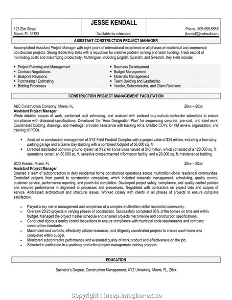 Project Assistant Resume by Executive Construction Assistant Project Manager Resume