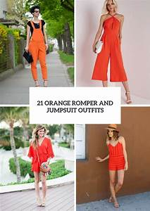 Picture Of Orange Romper And Jumpsuit Outfit Ideas