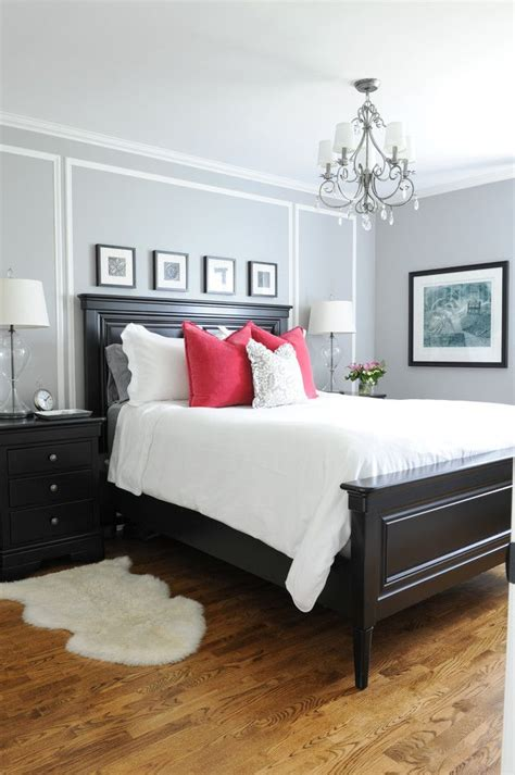 master bedroom     nightstands gray walls