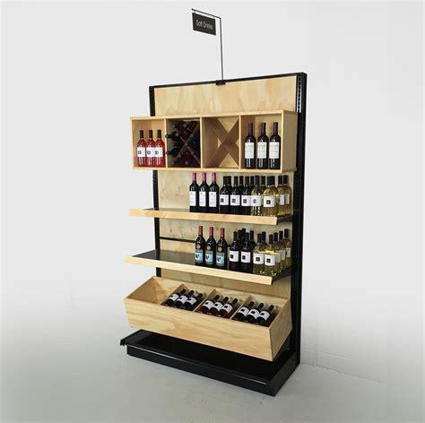 Black Gondola Shelving For Retail Wood Liquor Store