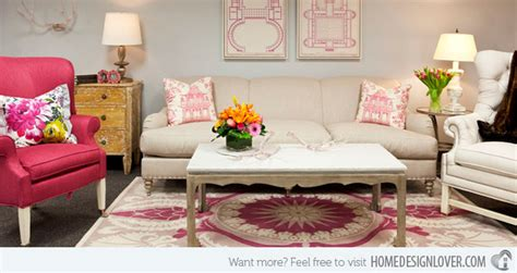 15 Pretty In Pink Living Room Designs