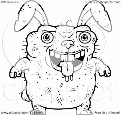 Ugly Rabbit Cartoon Coloring Drooling Clipart Outlined