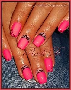 Pink neon & Swirls Nail Art Gallery
