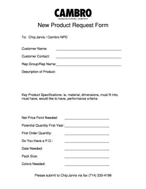 fillable   product request form cambro fax