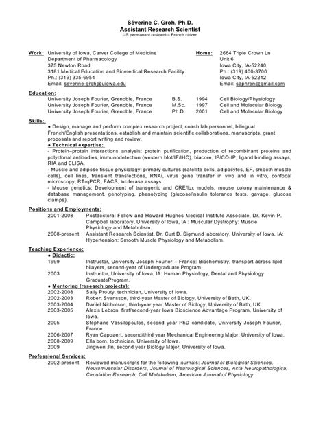 Biology Phd Resume by Resume Industry