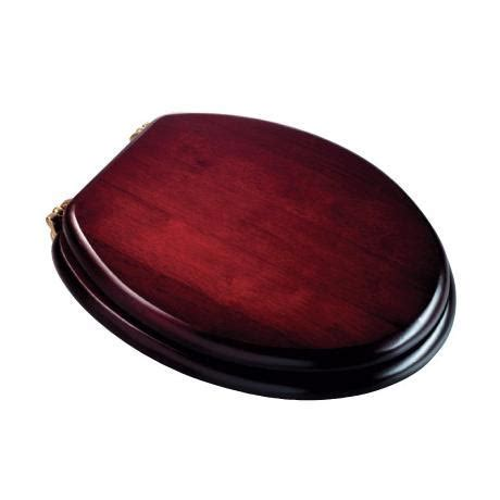 Croydex Mahogany Wooden Toilet Seat with Brass Effect