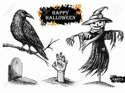 Halloween Drawn Disegnato Vettore Mano Uitstekende Illustrazione