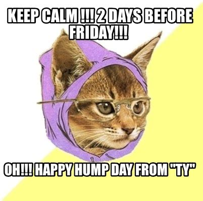 Hipster Cat Meme - meme creator keep calm 2 days before friday oh happy hump day from quot ty quot meme