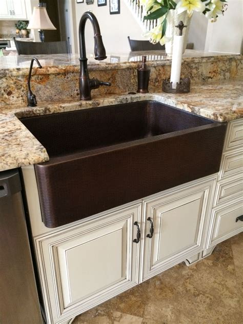 Hammered Copper Farm Sink, Moen Oil Rubbed Bronze Touch