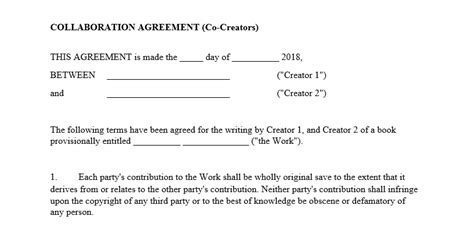 collaboration agreement template creator resource