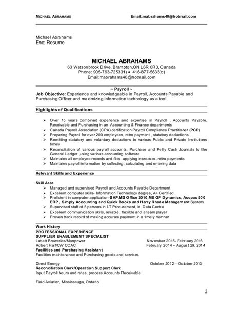 Payroll Technician Resume Sles by Michael Abrahams Resume Payroll Technician 2016