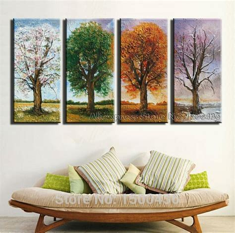 hand painted  season tree oil painting canvas set  piece