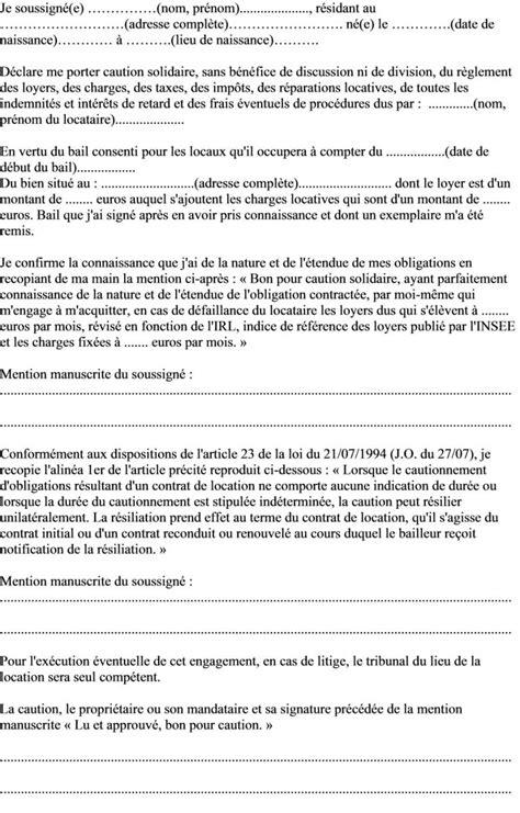 mod 232 le de lettre engagement du garant de caution solidaire pour un logement actualit 233 s