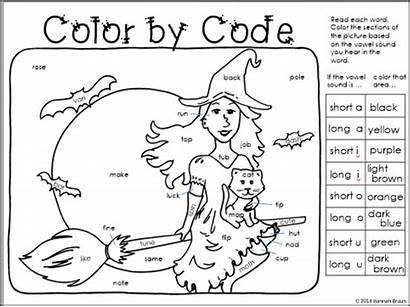 Vowel Short Halloween Sound Worksheets Coloring Code