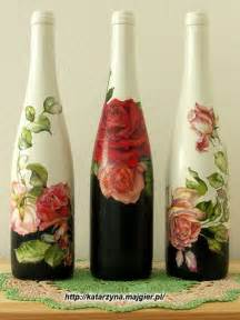 Decoupage and Painted Wine Bottles