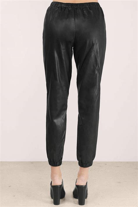 Cheap Black Pants Faux Leather Tapered
