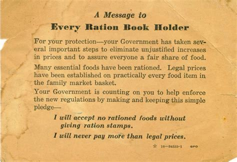 A Message To Every Ration Book Holder