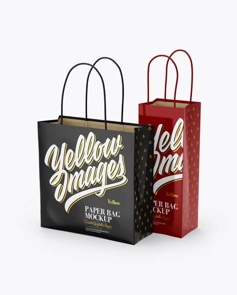 Best free packaging mockups of free and legal, fully layered, easily customizable photo realistic psds: Two Glossy Paper Bags Mockup - Half Side View - Glossy ...