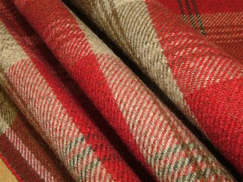 Balmoral Red Wool Effect Washable Thick Tartan Curtain Fabric