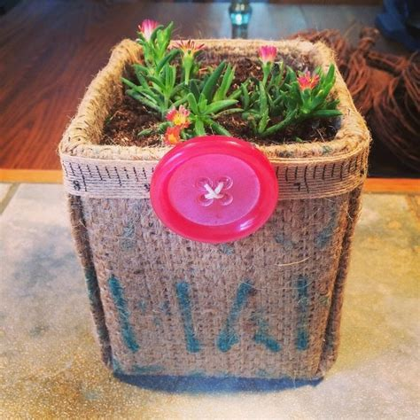 burlap milk carton planter   paint  painted flower