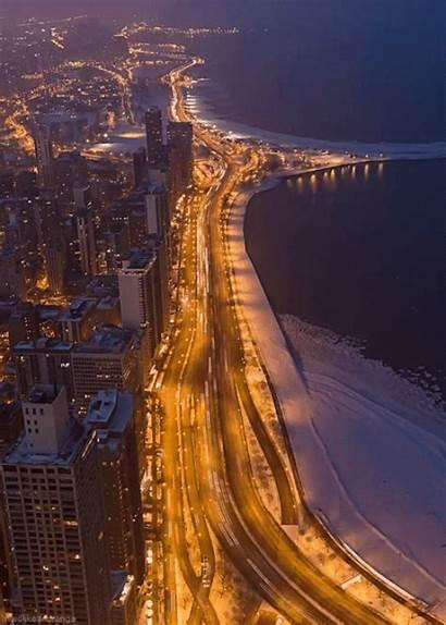 Chicago Night Winter Lake Drive Shore Traffic