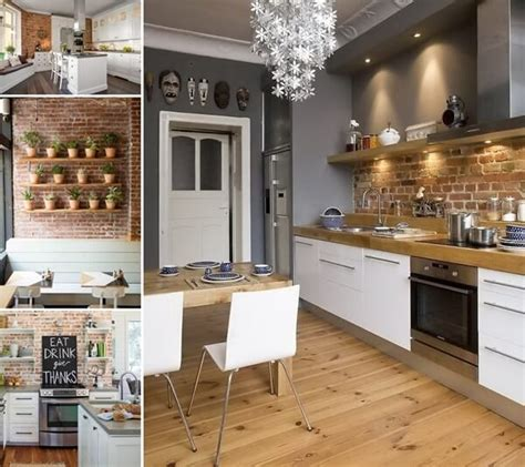 amazing kitchens  exposed brick walls