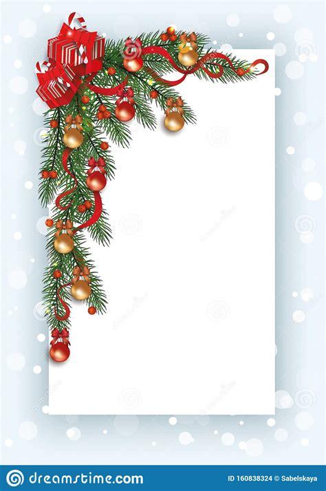 christmas card template  pine tree branch corner