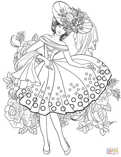 fashion coloring pages american from 40 s coloring page free printable