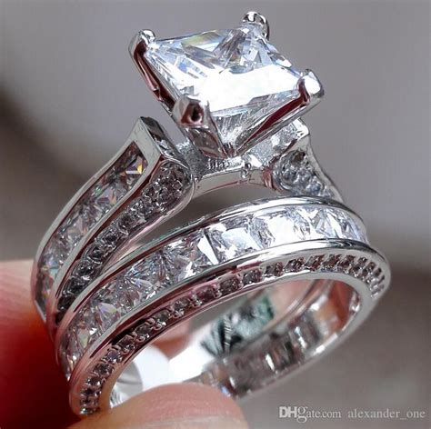 best wholesale fashion 925 sterling silver jewelry square topaz cz simulated diamond