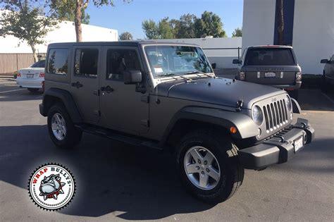 jeep grey jeep wrangler rubicon wrapped in matte gray wrap wrap bullys
