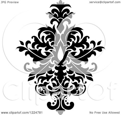Clipart of a Black and White Floral Damask Design 29 ...